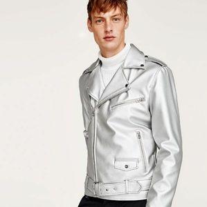 Zara Man Silver Metallic Moto Biker Jacket